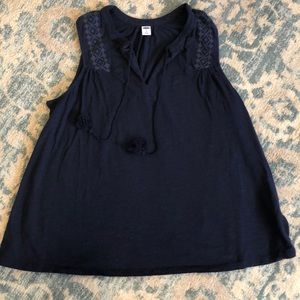 Navy Tank with Tassels